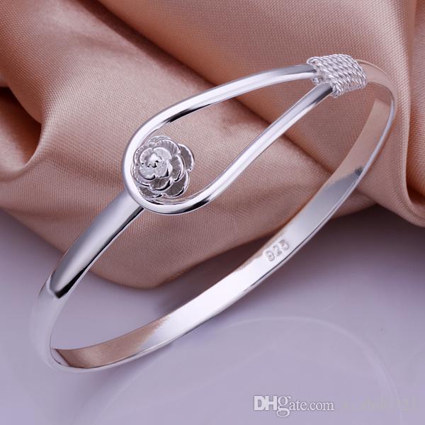 Meilleur prix! 925 femmes Bangles Bracelet Bijoux Rose style Bangle Bijoux Fit cadeau de mariage Hot vente
