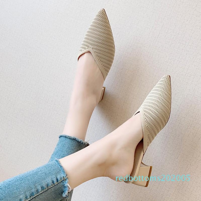 2020 Tacchi donne Muli nero diapositive femminili di spessore del blocco della punta aguzza Beige Pantofole sexy piena estate Heels lusso scarpe verdi r05