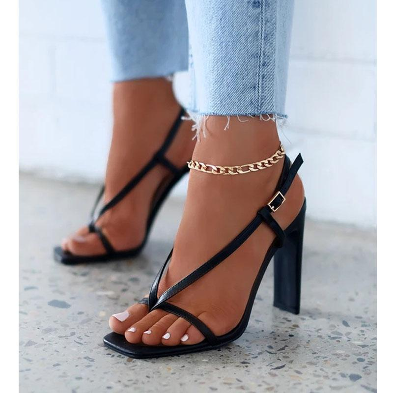 Plus Size 35-41 New Square Toe falhanço de aleta Sandálias Mulheres Abrir Toe Salto Alto da bracelete das mulheres sandálias de verão Gladiador Shoes