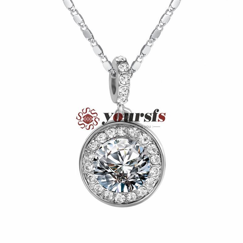 Yousfs роскошный большой круглый форма дизайн имитация Алмаз 18 к белое золото Кристалл круг матерей классический Ожерелье для женщин ювелирные изделия великолепные