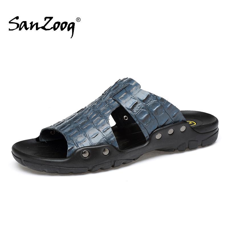 Men Slides Leather Mens Slippers