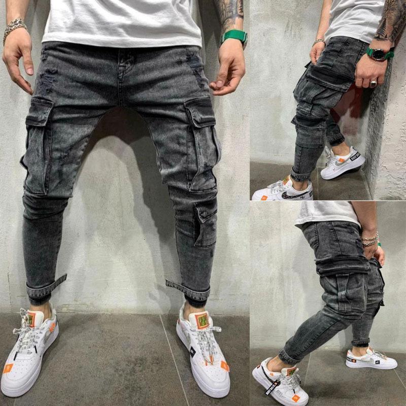 Patchwork Denim Jeans Hommes Crayon Pantalons Slim Fit Biker Skinny Jean Crayon Casual Jogger Side Pocket Hip Hop Noir Pantalon cargo T200730