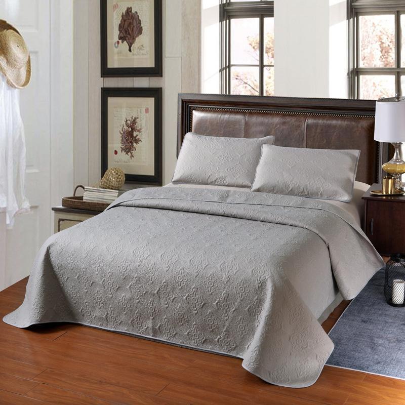 Spedizione gratuita Quilting coperte di cotone in poliestere ricamo Beige Grigio Bed Cover Set diffusione letto queen size Coverlet lenzuola Quilt Cover