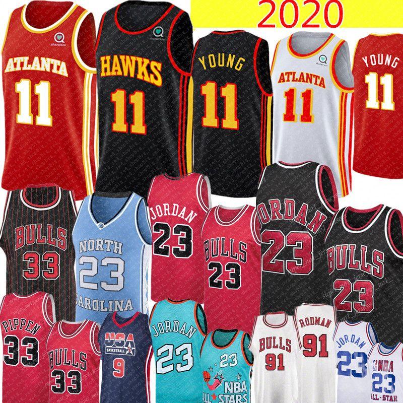 NCAA 2020 Trae (11) 젊은 저지 레트로 메쉬 (23) 마이클 스코티 피펜 (33) 뉴저지 데니스 (91)로드 먼 대학 농구 유니폼 MJ 1996 불