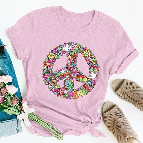 Manica corta collo casuale Breve Streetwear progettista delle donne Tees 5Colors Pace floreale allentato delle donne magliette di estate O del Designer