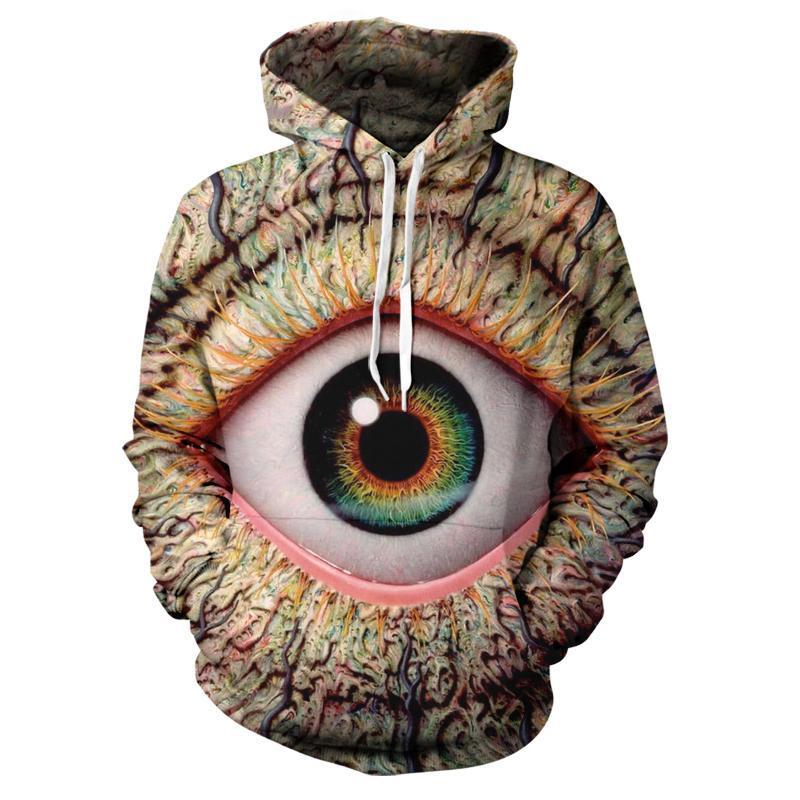 patrón de ojo de impresión en 3D con capucha sudaderas con capucha hombres y mujeres Hip Hop divertido Otoño Calle Sudaderas con capucha Para Parejas Ropa