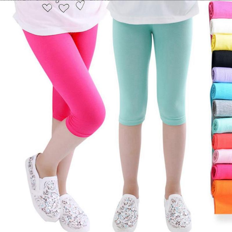 Kids Girls Bottoms Leggings Modal Cotton Knee Length Pants Candy Color Children Tights Summer Girls Clothing 7 Colors DW5534