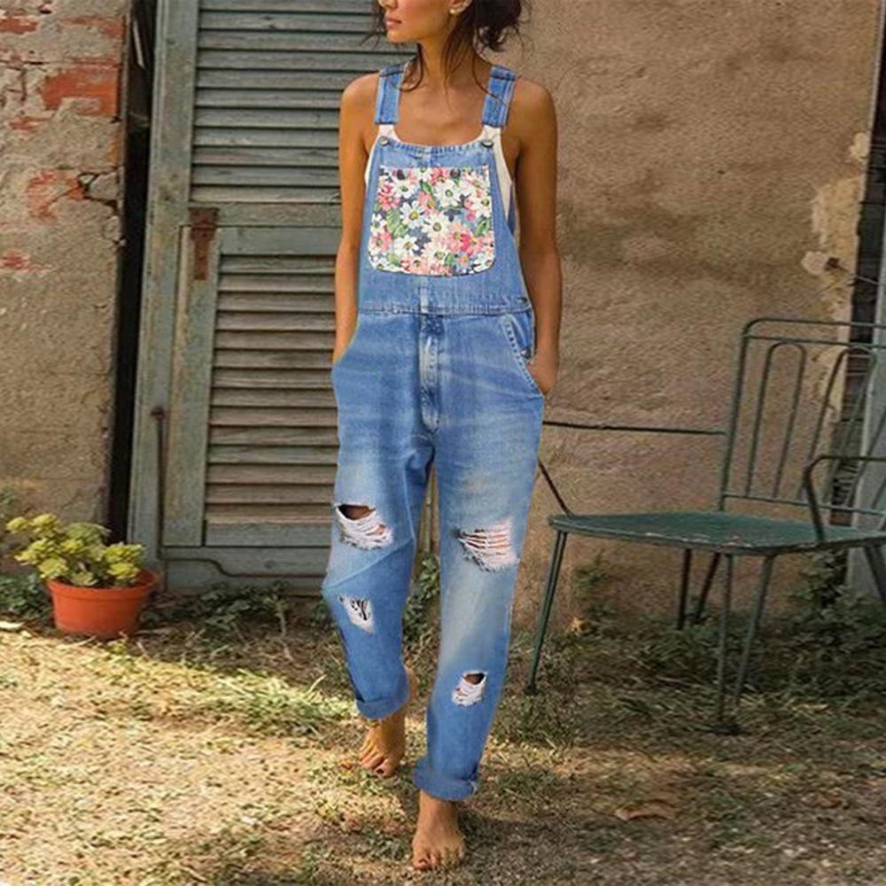 Mulheres calças compridas Imprimir Denim Macacão Romper macacões Correias Ladies Casual solta Plus Size Jumpsuits bolso Buraco Calças Jeans