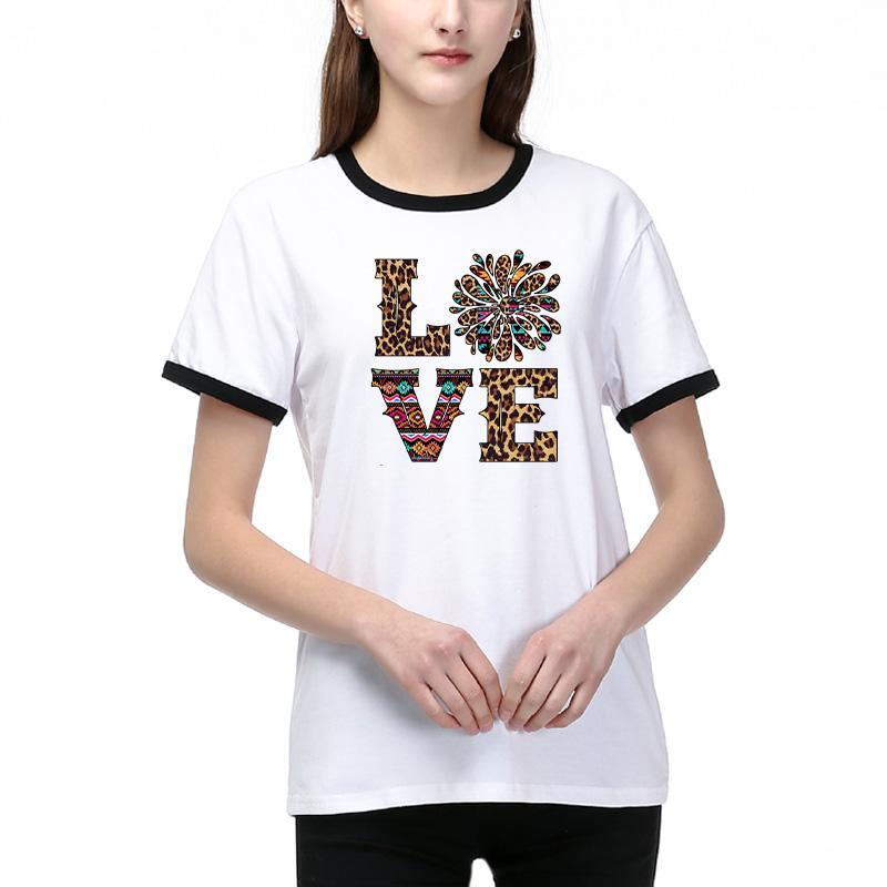 Мода DIY Футболка для женщин Новой Summer Тиса с Letter Printed Повседневных дышащих футболок дама DIY Размер одежда S-2XL