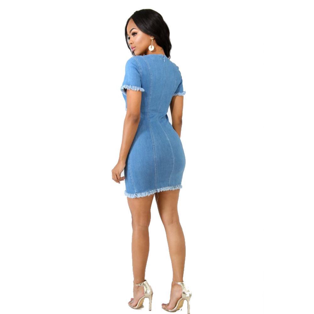 Лучшие продавцы разорванные женские дизайнерские платья мода сексуальная экипаж вымытые огорченные джинские платья карандаша случайные женские летние платья