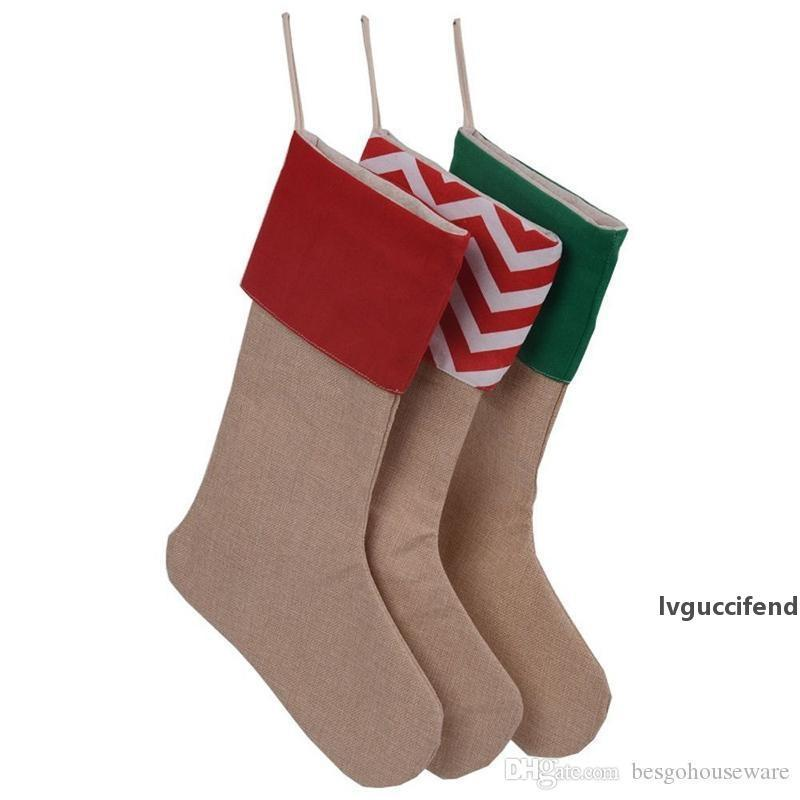 Christmas Stockings Christmas Tree Ornaments Stocking Kids Santa Claus Gift Candy Storage Sock Xmas Children Decorations Sock BH0197 TQQ