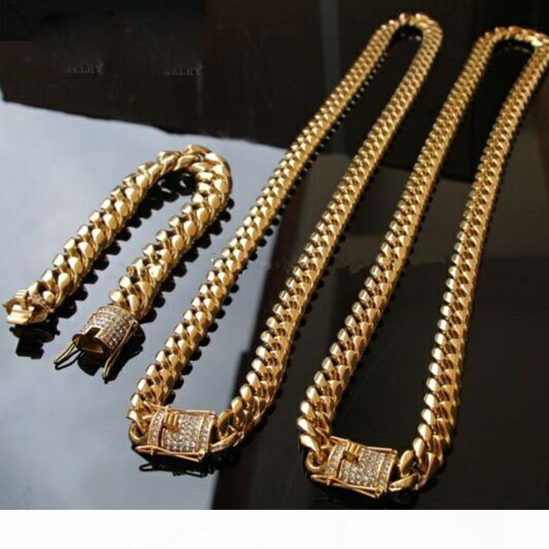 14 millimetri Raffreddare Mens Gold Chain tono 316L Collana in acciaio inox Curb cubana Catena e bracciali insieme con il diamante fibbia blocco 2PCS Gioielli