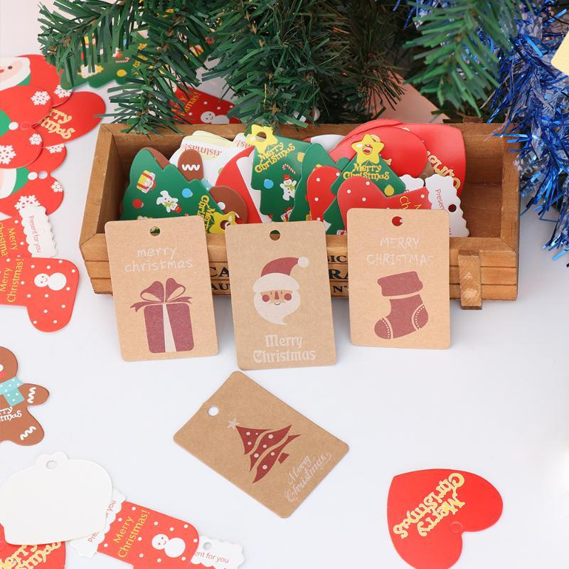 50PCS Christmas Theme Kraft Paper Tags DIY Crafts Hang Tag With Rope Christmas Party Labels Xmas Gift Wrapping Supplies