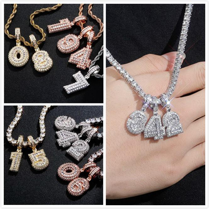 Gold Plated Iced Out CZ Square Cubic Zirconia Custom Sports Number Pendant Chain Necklace DIY Bling Diamond Hip Hop Jewelry Gift for Guys