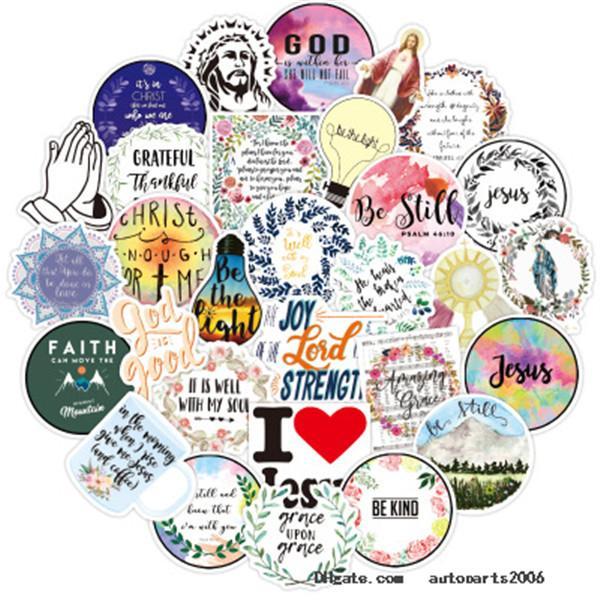 50PCS/Lot Diy Graffiti Christian Faith Famous Proverbs Jesus Stickers Bulk Sticker Kids Gifts Helmet Bottle Luggage Car Decals