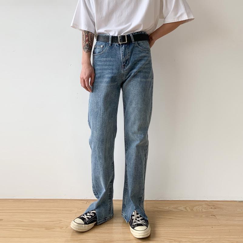 Männer Split Hem gerade Denim-Hosen-Mann Vintage Fashion Street Hip Hop Lange Jeans-Hose-Japan-Korea-Art-Cowboy-Hose