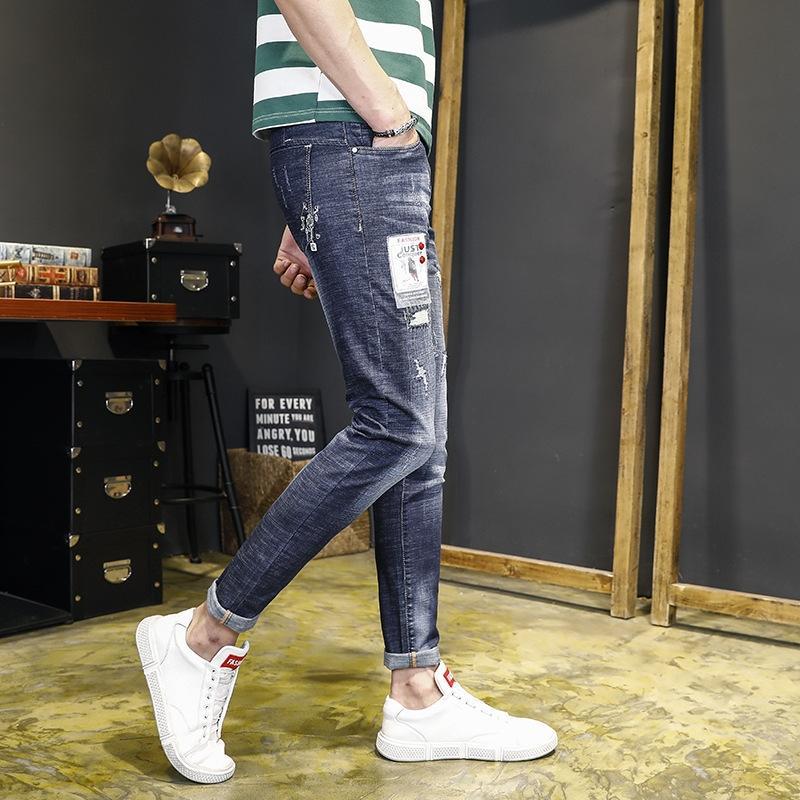 8hb7I 1qLMM emagrecimento quebrado calça jeans super-homens calças de brim apertadas calças apertadas marca moda de rua moda hip hop coreana magro magro magro calças c