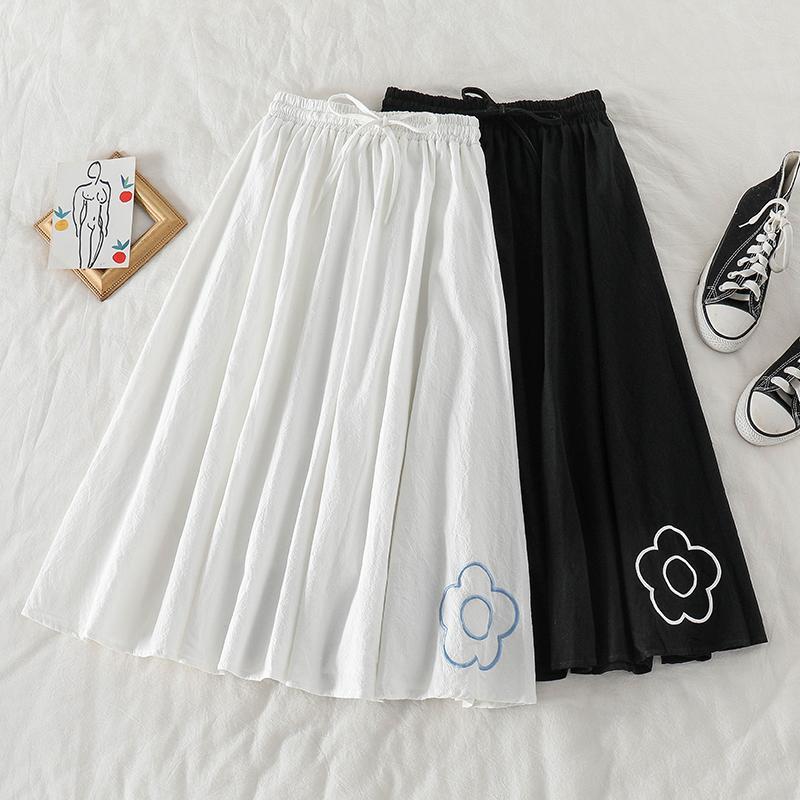 Harajuku Çiçek Nakış Gevşek Uzun Etekler Kadınlar 2020 Casual Yüksek Bel Streetwear Temel Kore Stil Kadın Maxi Etekler