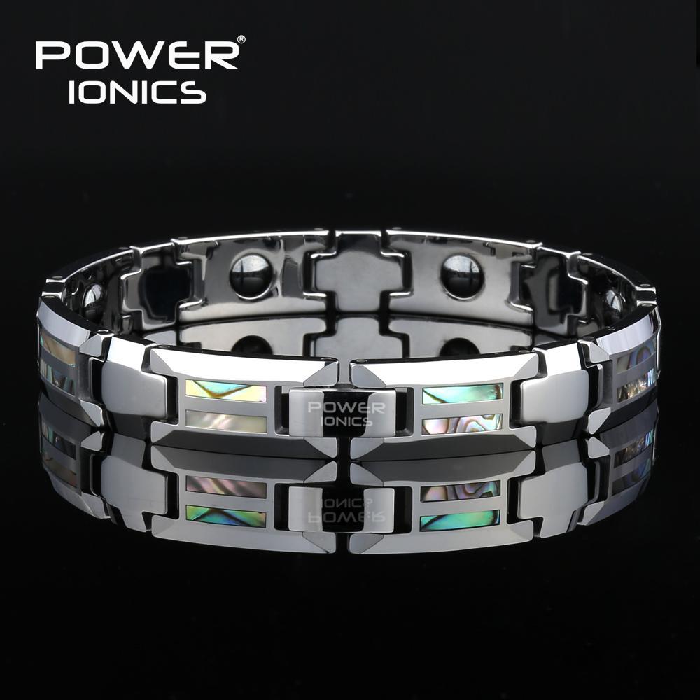 Power Ionics Magnetic Bracelet Men Luxury Natural Shell Never Scratch Tungsten Steel Bracelets For Women Cross Jewelry Gifts CX200724