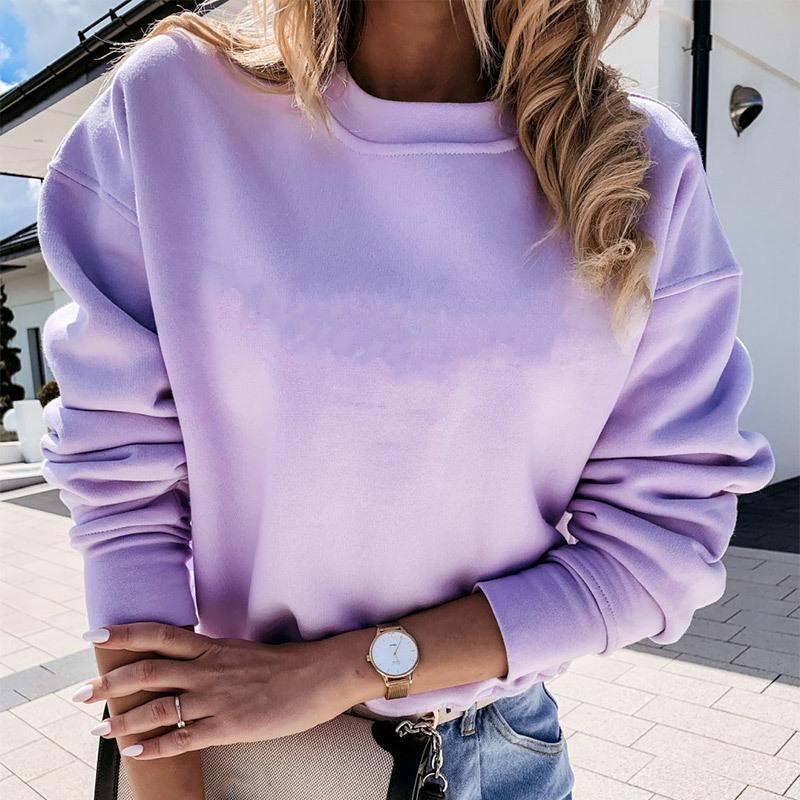 Sólido O-pescoço das mulheres capuz retalhos capuz manga comprida roupas femininas 2020 Autumn Streetwear ocasional das senhoras camisola