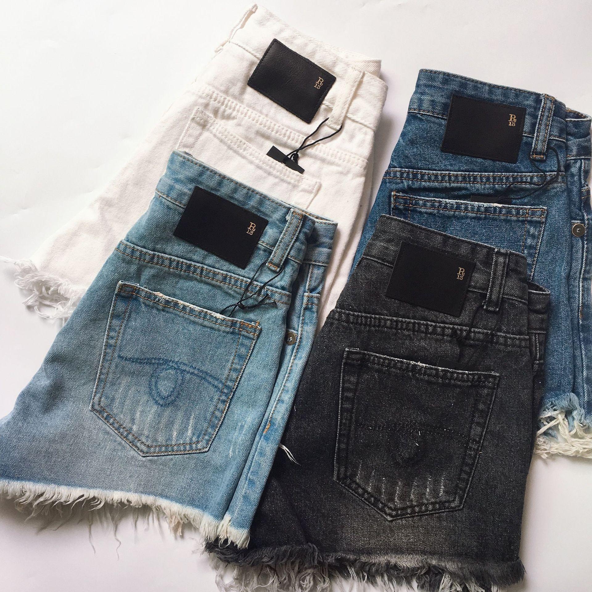 2020SS Verão cintura alta R13 Demin Shorts Mulheres Plus Size 5XL solto Buraco borlas Harajuku Hot Pants Sexy Jeans curto menina Primavera