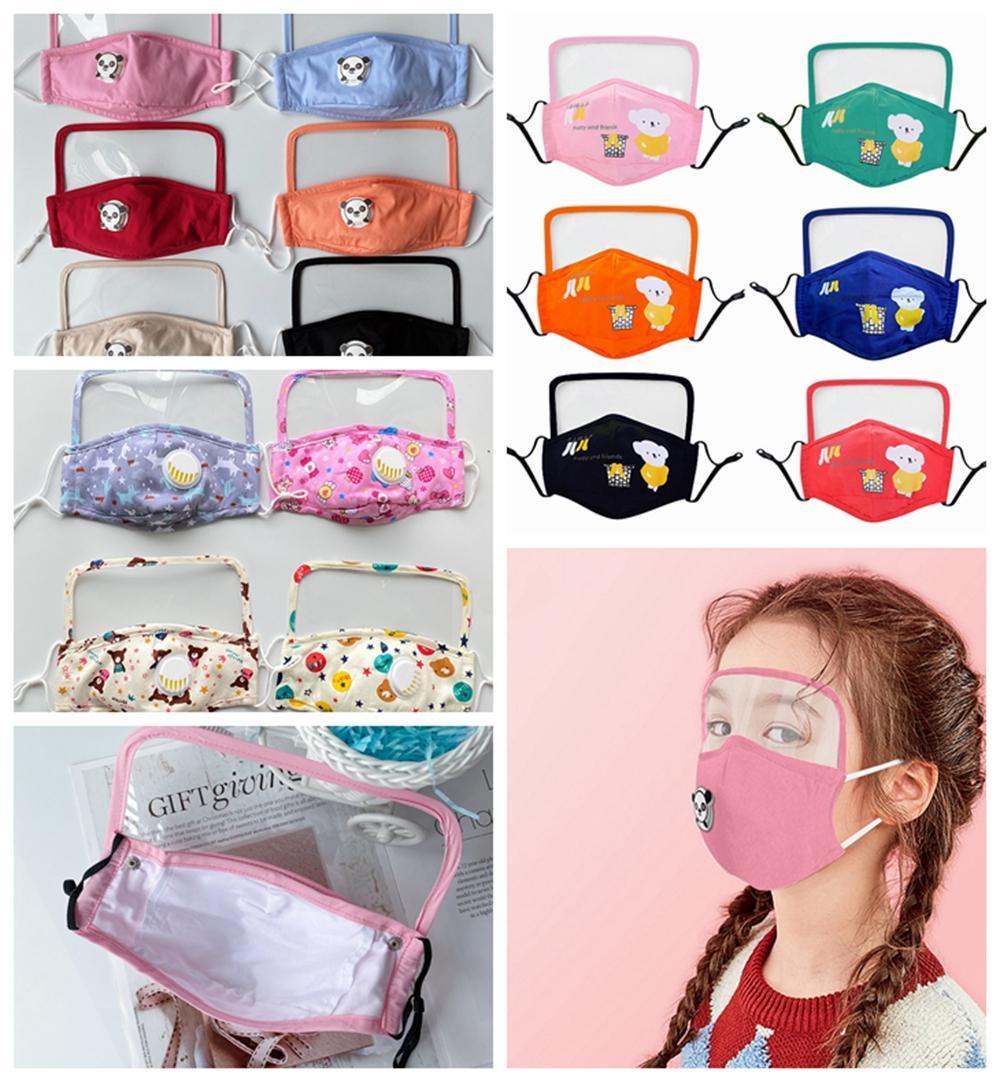 4 Styles Kid masque facial avec la respiration bouclier transparent Eye Valve Imprimé Cartoon enfant extérieur anti-poussière Brouillard Facial Bouche Couverture LJJP255
