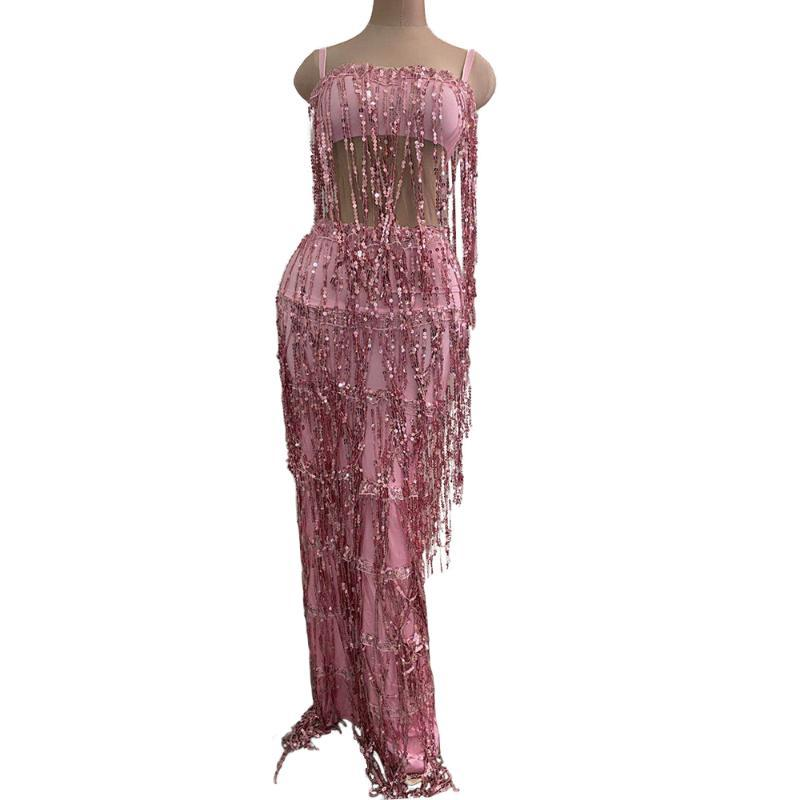 Pink Sequin Long Tassel Women Party Long Dress Female Spaghetti Strap Stretch Fringed Bodycon Dress Dancer Singer Stage Costume