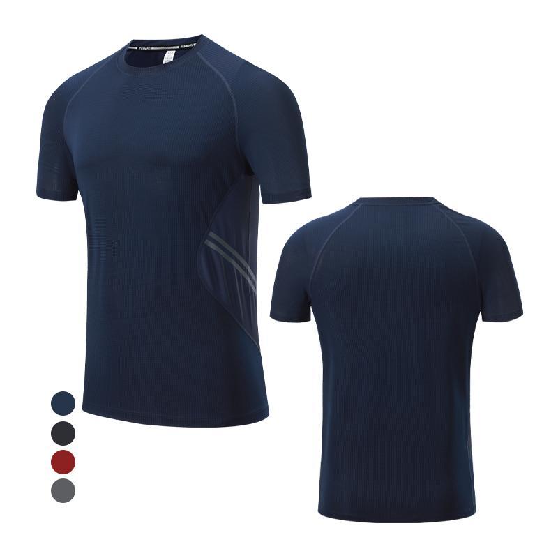 Gym Fitness Tees Quick Dry Man Brand Sports Tshirts Reflective Strip Men Night Running Shirts Training Basketball Short Sleeve T