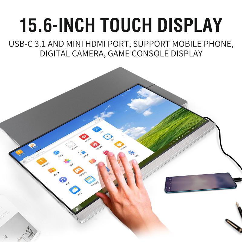 Touch Screen Portable Monitor display 1920x1080 FHD IPS 15.6-inch Display Monitor Rechargeable Battery with Case ship by DHL