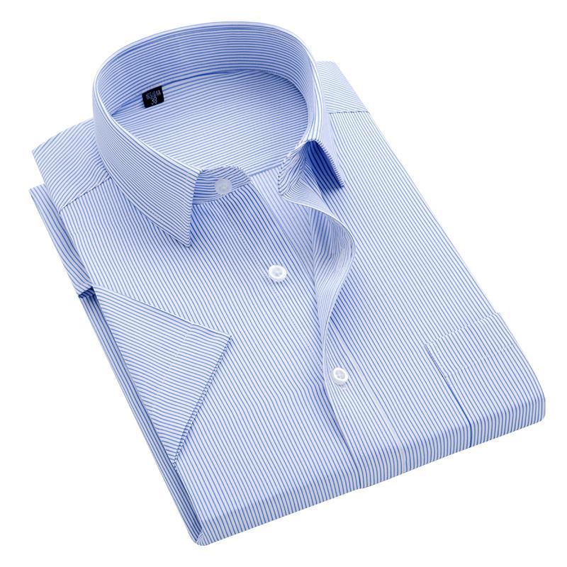 Summer S ~ rayas camisa de vestir de manga corta de cuello cuadrado que no necesita planchado la camisa sociales bolsillo antiarrugas corte clásico masculino de los hombres 8XL