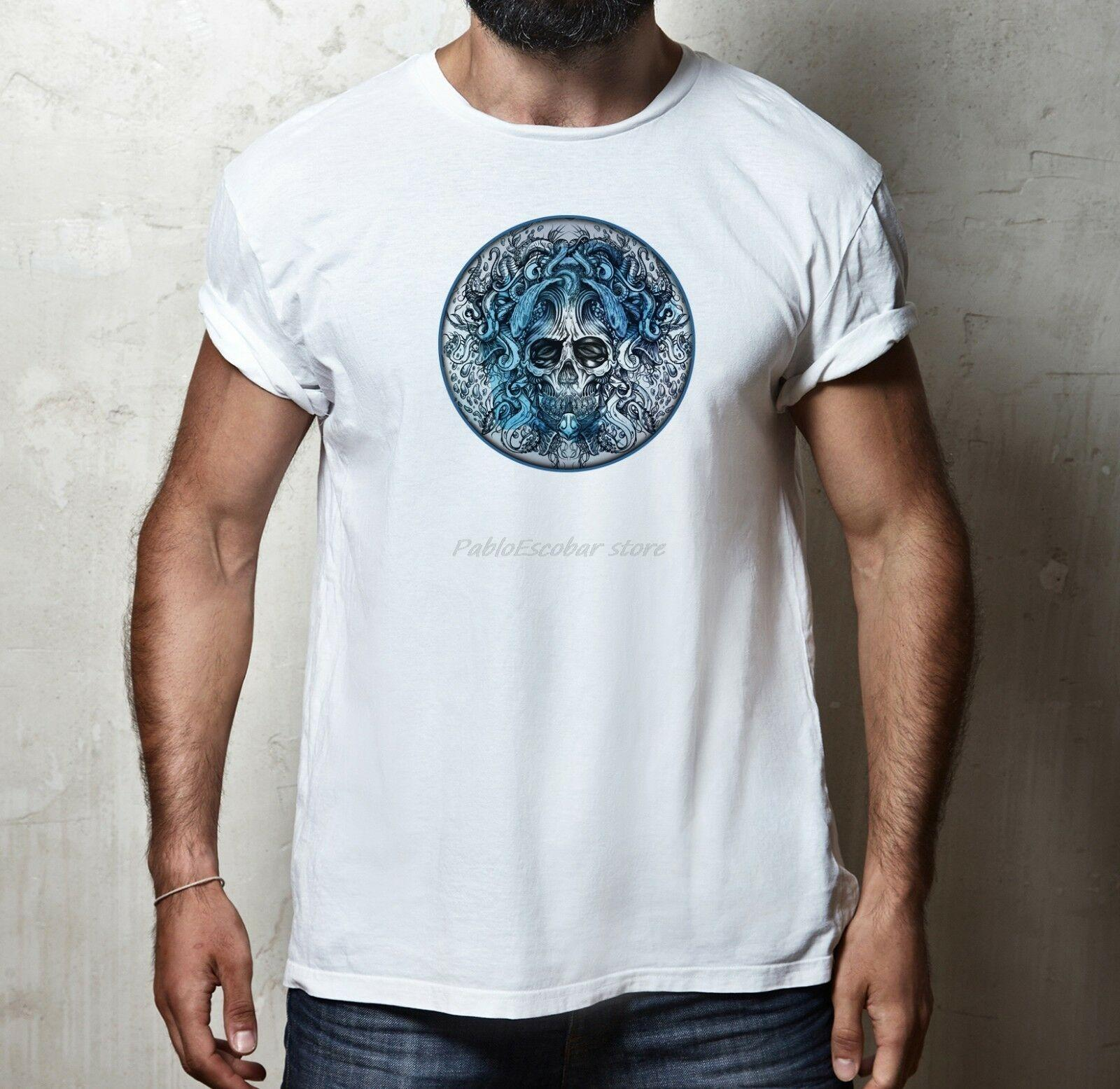 MENS FIT mar del pulpo MAR TENTACULO del tatuaje del cráneo ART ESTILO MODA camiseta de la camiseta de los hombres de euros del tamaño del verano