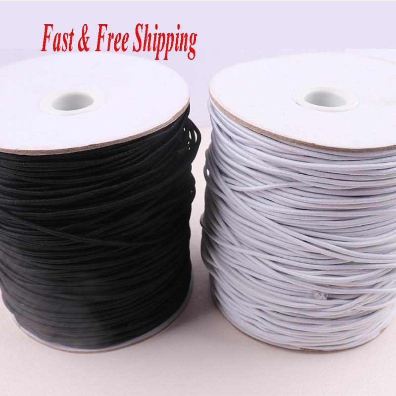 Elastic Band Nähen 2mm Schwarz / Weiß Farbe elastische Schnur Seil Nähen Handwerk DIY-Maske Bedspread Cuff schnellen und freien Versand