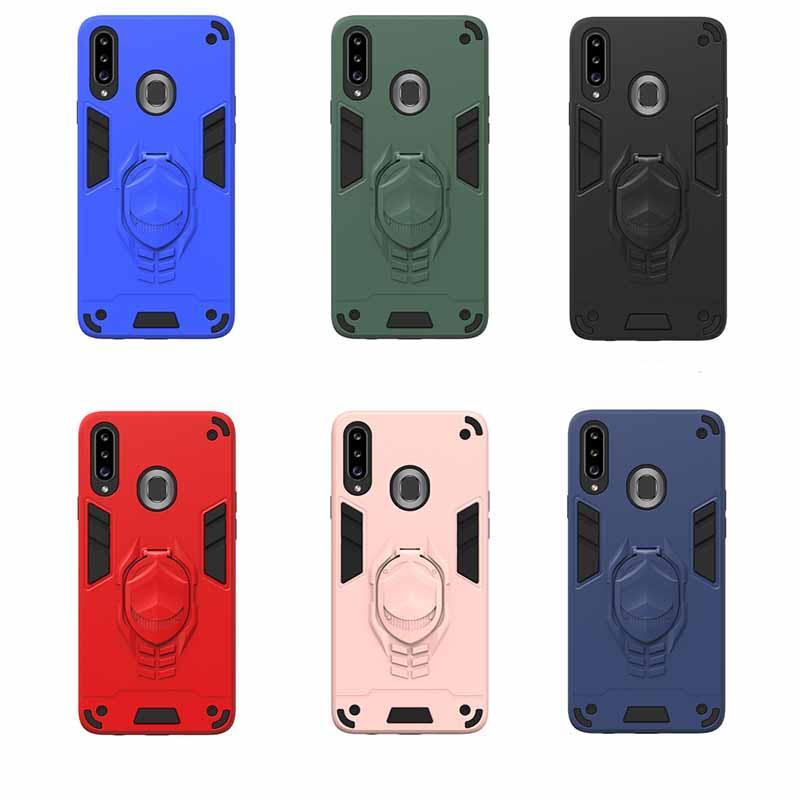 Cas de téléphone Armure antichoc pour Samsung Galaxy A20S Hybrid Dual Calque Cas de protection Kicktand Sam S20 Couverture