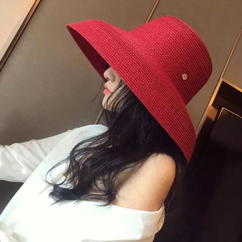 13cm Wide Brim Beach Big Floppy Women Summer Black White Red UV Sun Block Straw Foldable Travel Derby Hat Y200619