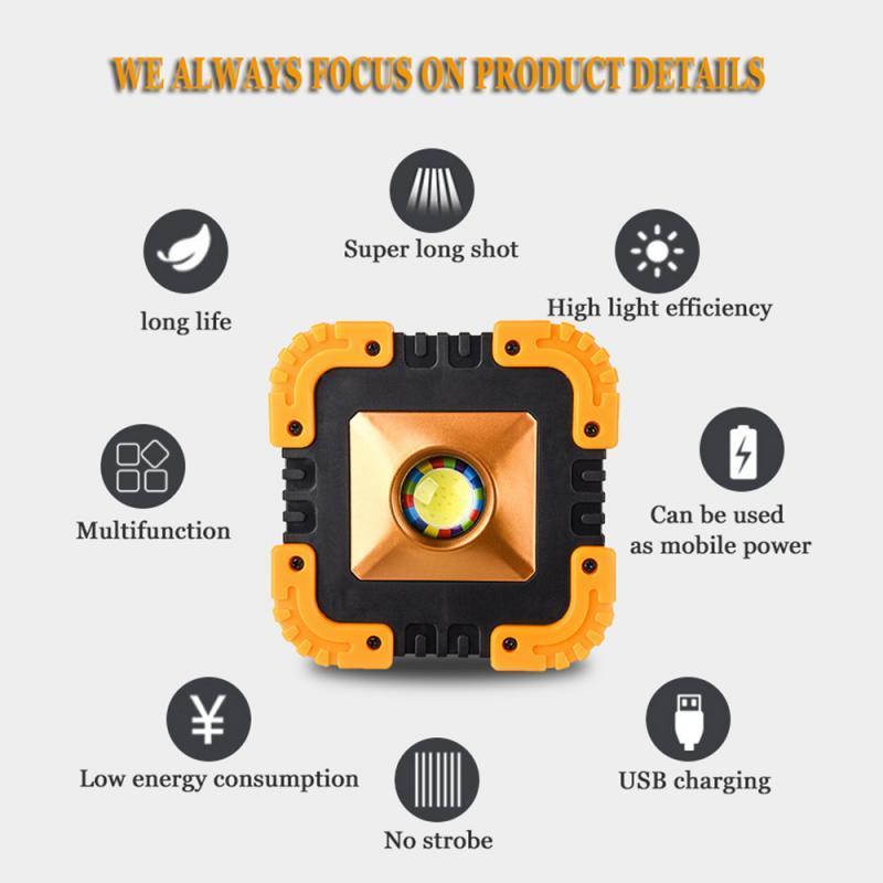 1200mAh ha condotto il riflettore portatile eccellente lavoro della luce principale luminosa USB ricaricabile per campeggio esterno Lampe dropship