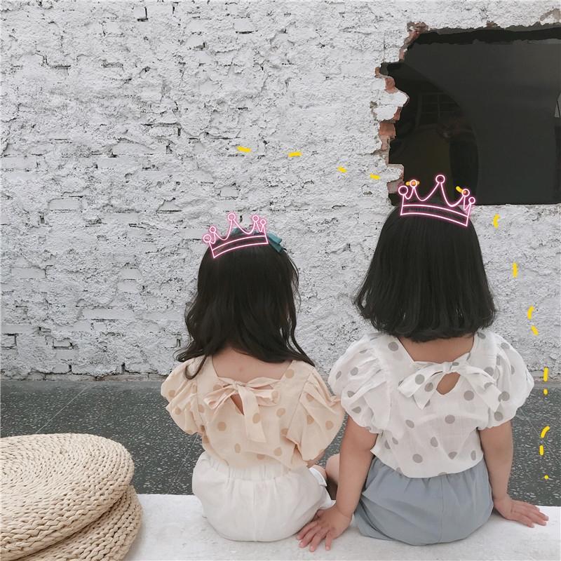 EcWiw ragazze pois bambola estate nuova camicia di media coreani per bambini e Chen Tong Shan Chen Tong shan rivestimento dei bambini della camicia piccolo ragazze V
