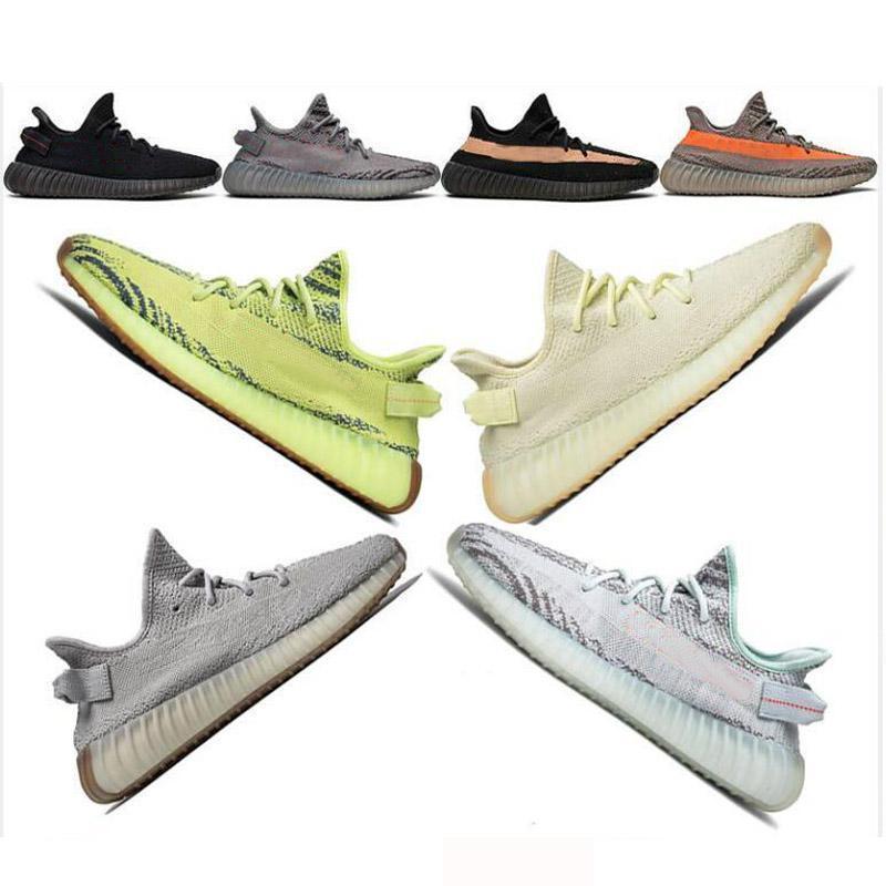 Avec la boîte de réception Socks v2 Semi Frozen Yellow yebra Kanye West Chaussures de course mode bleu sandales concepteur femmes mens de luxe chaussures
