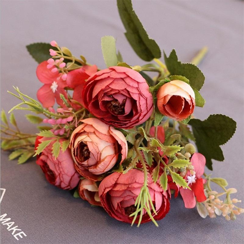 1pcs / lot baratos Artificial queda Fake Flowers Wedding Party Bouquet Europeia Flower Bud Para Casa Tabela Decoração baratos