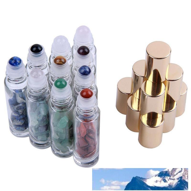 자연 준 보석 돌 에센셜 오일 보석 롤러 볼 병 투명 유리 치유 크리스탈 칩 10ml 무료 DHL