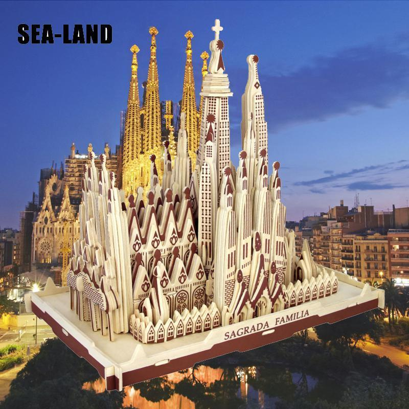 Dropshipping 3D Wooden Puzzle Children's Adult Model The Sagrada Familia A Kids Toy Of Famous Building Series Best Gift For Kids MX200414