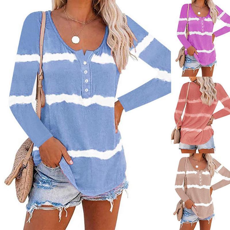 Frauen-beiläufige O-Ausschnitt Langarm-Steigung-Farben Buttons Bluse Top Sweatshirt Tops Elegante Arbeitskleidung Chiffon Shirts