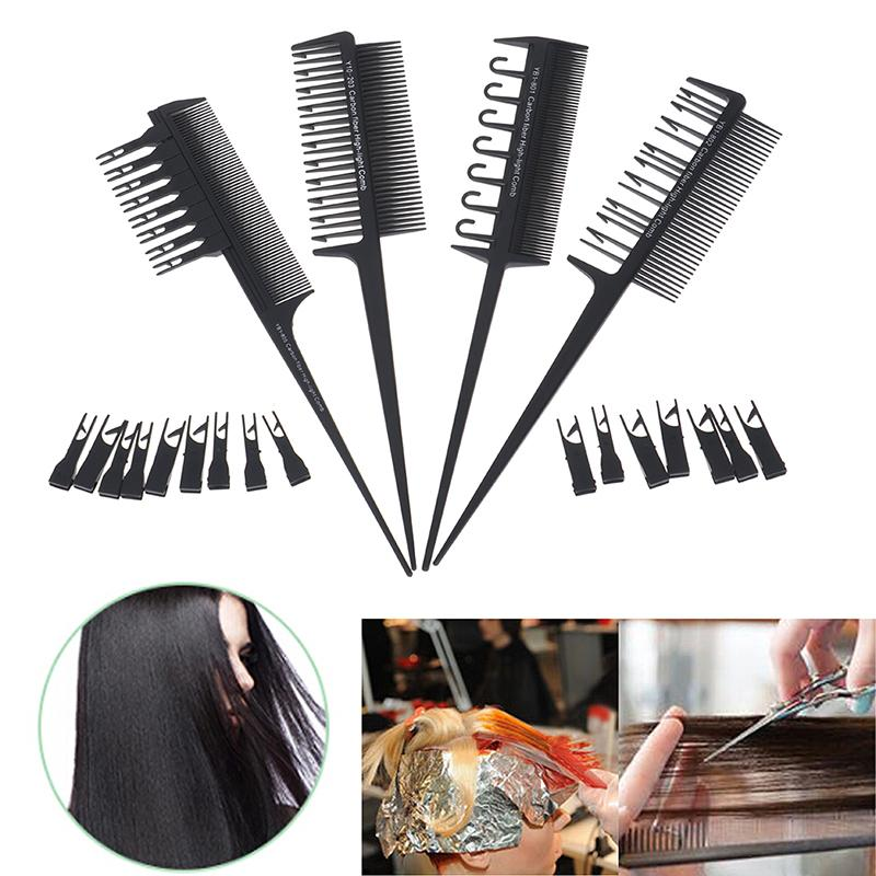 Professionnel 2 Side cheveux peigne réglable Dyeing Sectionnement Highlight peigne tissage de coupe brosse Salon Coloration Styling