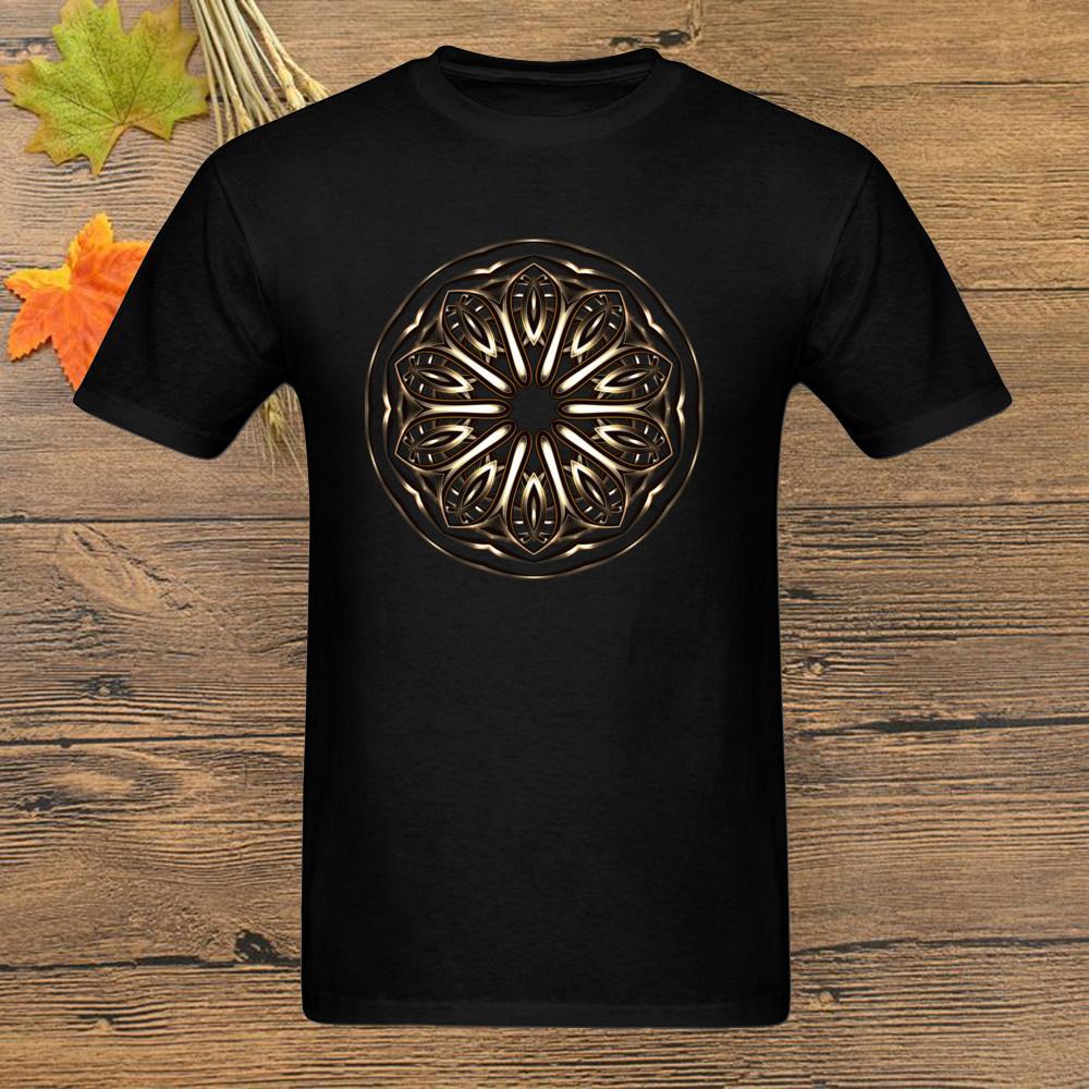 Día ropa de encargo del regalo camiseta de manga corta de los hombres elegantes frescas camisetas ORO diseño de Mandala Negro algodón del padre