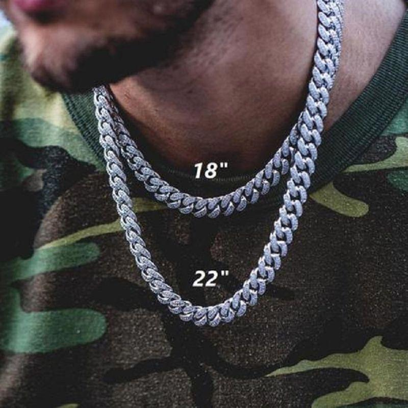 Men Hip Hop Full Diamond CZ Necklace Cuban Chain Hiphop Gold Silver Iced Out Chain Exaggerated Rapper Jewelry