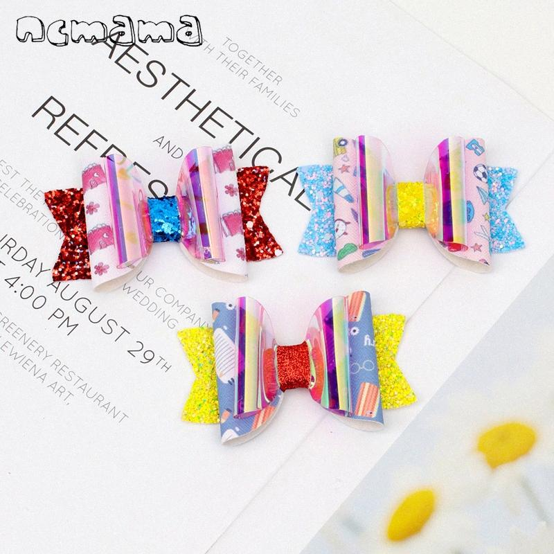 2020 New BACK TO SCHOOL Hair Bows For Girls 3inch Stacked Pencil Printed Leather Glitter Hair Clips Barrettes Kids Headwear UV0F#