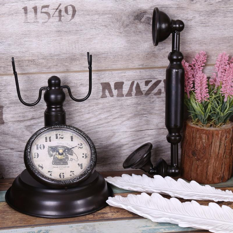 2021 Retro Vintage Telephone Table Clock Creative Bar Cafe Decoration Home Clock Clothing Shop Window Model Decoration Table Watch From Sophine08 63 34 Dhgate Com