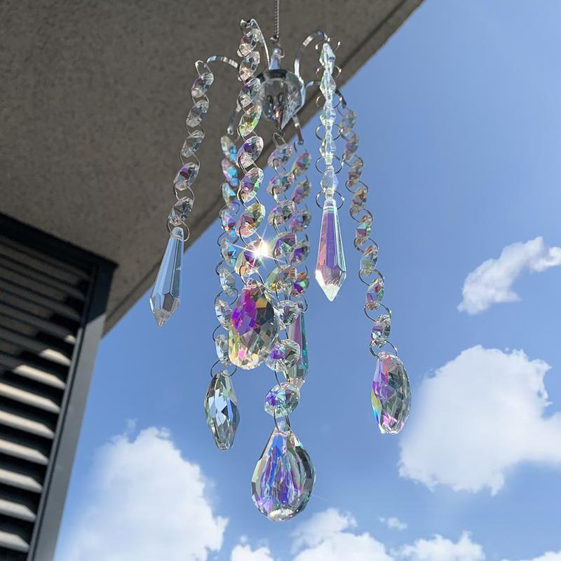 Chandelier Wind Chimes AB Coating Crystal Prisms Hanging Suncatcher Rainbow Chaser Window Curtains Pendant Home Decor Gifts