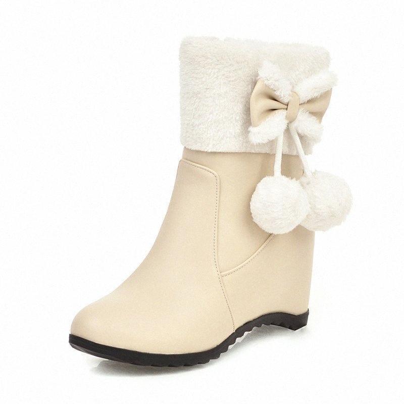 Новый лук мех шар цветы снегоступы меха мяч принцесса снегоступы стиль колледжа сладкий Лолита зима женщин qo3W #