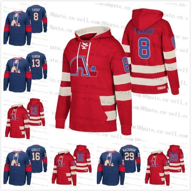 Mesure Nordiques de Québec 29 Nathan Mackinnon 8 Marc Tardif Rétro Pull Heritage Rouge Bleu Hoodie 13 Mats Sundin 16 Michel Goulet Maillots