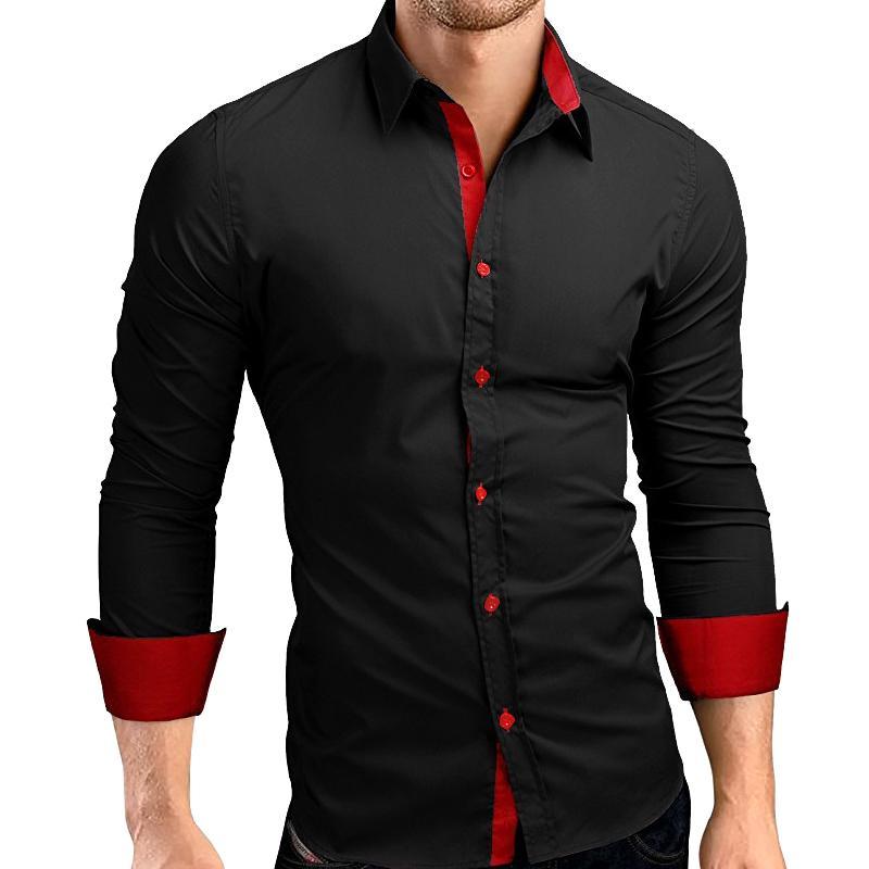 New Mann Hemden Mode-Männer Langarm-Shirt Tops beiläufige dünne Up Shirts Männer Tops Camisa Masculina 2020
